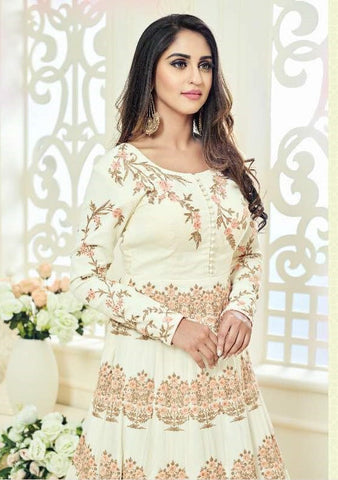 White Patch Work Georgette Abaya Style Anarkali With Duaptta
