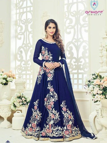 Blue Georgette Floral Work Embroidery Abaya Style Anarkali With Dupatta