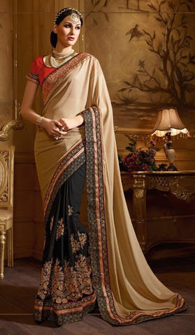 Black , beige,Geogette,Heavy designer party wear saree