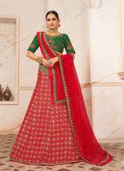 Red Silk Party Wear Lehenga With Green Choli And Red Dupatta