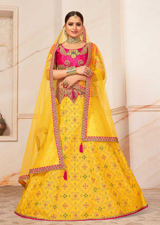 Yellow Silk Party Wear Lehenga With Pink Choli And Yellow Dupatta