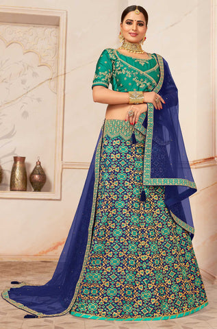 Turquoise Silk Party Wear Lehenga With Turquoise Choli And Blue Dupatta