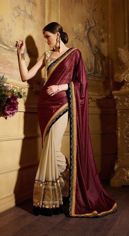 Brown , Beige,Geogette,Heavy designer party wear saree