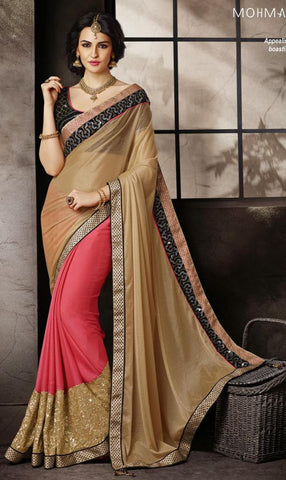 Pink , Beige,Chiffon,Heavy embrodiery designer saree with designer blouse