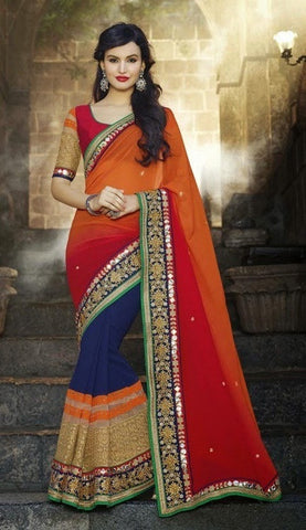 saree Georgette , Silk , Orange , blue,red