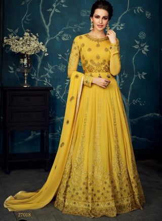 Yellow Jacquard Party Wear Anarkali With Yellow Dupatta