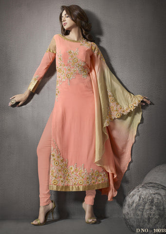 Peach,Georgette,Long designer party wear stylish suits