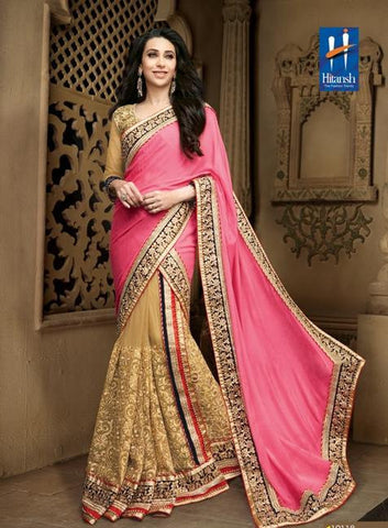 Pink , Beige,Chiffon,Heavy designer wedding wear saree