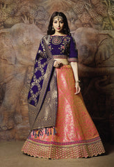 Peach-Pink Silk Party Wear Lehenga With Blue Choli