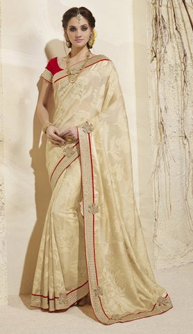 Beige,weaving,Designer heavy party wear saree
