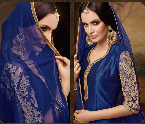 Banglori,Blue,Heavy party wear designer suits