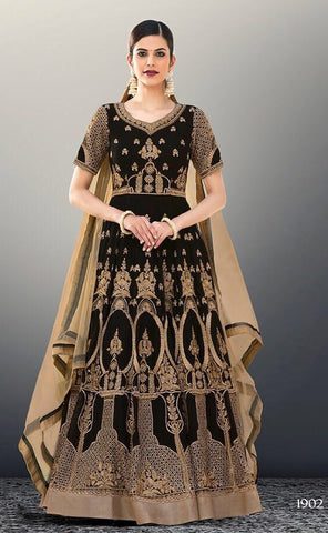 Black Beige  Georgette Embroidered Bead Work Anarkali Abaya Style With Dupatta