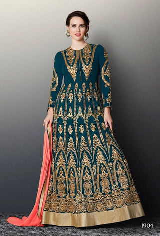 Green  Peach Georgette Embroidered Bead Work Anarkali Abaya Style With Dupatta