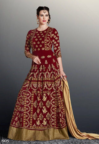 Maroon Beige Georgette Embroidered Bead Work Anarkali Abaya Style With Dupatta