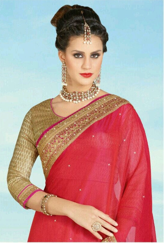 9a9249d7abef5f Buy Online Beige & Red Saree By Credit Card Below $110 – Banglewale ...