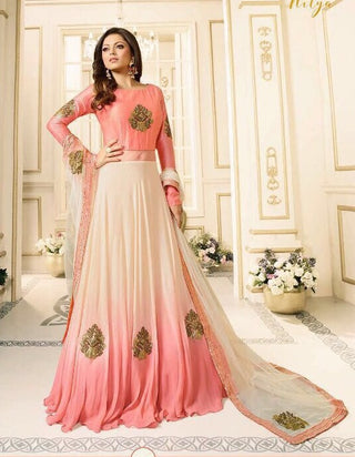 Peach Pink White Shaded Gown Type Abaya Style Anarkali With Dupatta