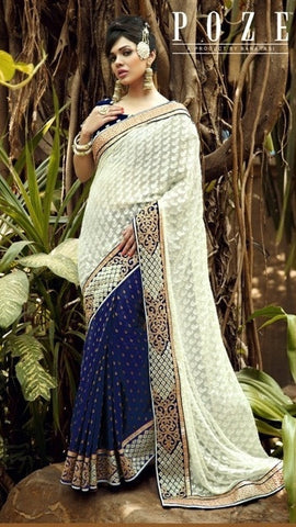 Saree Blue & beige,Viscose