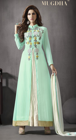 Sea Green,Georgette,Long designer party wear stylish suits
