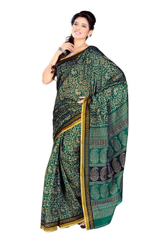 Red  &  Pink  &  Green color Georgette saree