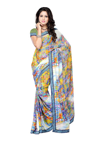Yellow & White  Georgette saree