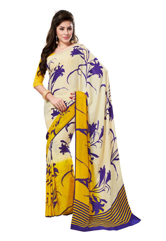 Cream &  Yellow color Georgette Crepe Chex saree