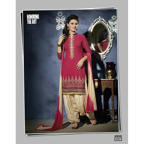 Designer Embroidered Georgette Pink and Golden patiala suits