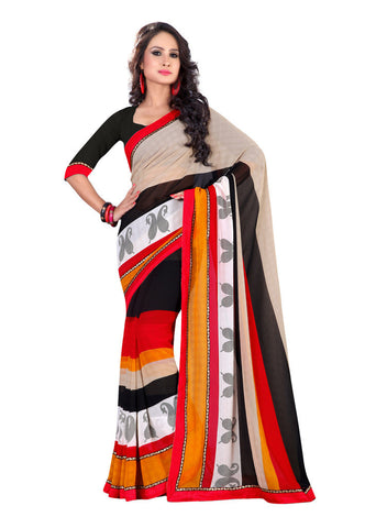 Black & Red Chiffon saree