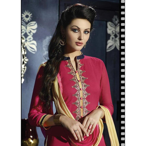 Pink and Beige Patiala Suits for women with shaded dupatta