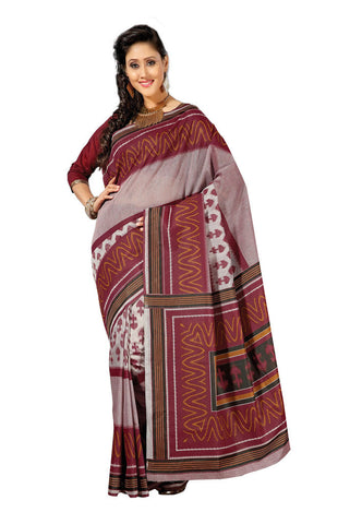 Maroon &  Off White  color Cotton saree