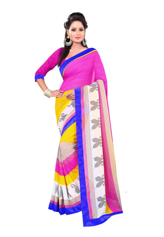 Pink & Yellow Chiffon saree