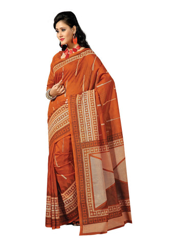 Orange  color Cotton saree
