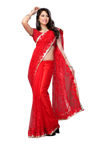Red color Net saree