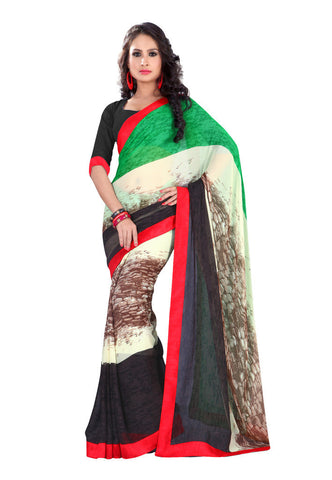 Black & Green Chiffon saree