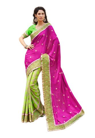Magenta &  Cream color Velvet and viscose saree