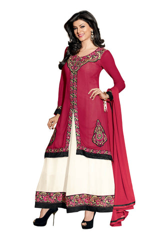 Maroon & White Georgette suits