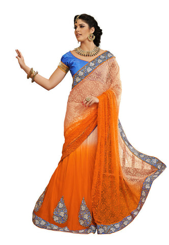 Orange color Jacquard and shantoon saree