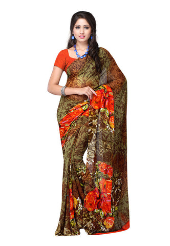 Green & Brown Weightless Georgette saree