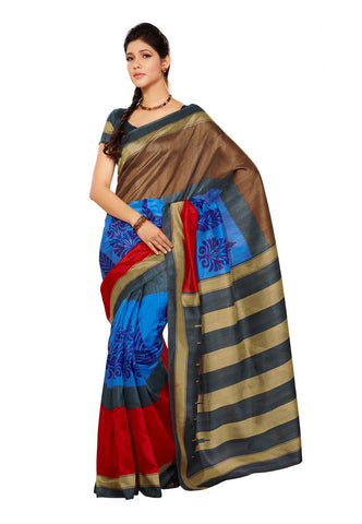 Brown  &  Blue & Red color Bhagalpuri Silk saree