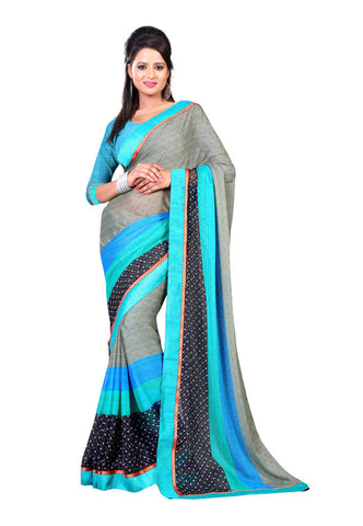 Grey & Black Chiffon Butti saree