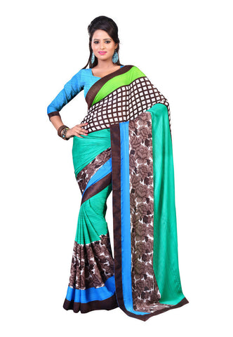 Green & Brown Satin Chiffon saree