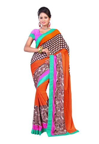 Orange & Brown Satin Chiffon saree