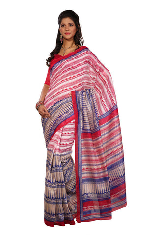 White &  Pink &  Blue color Super Bhagalpuri Silk saree