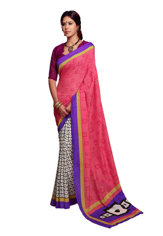 Pink & White Art Silk saree
