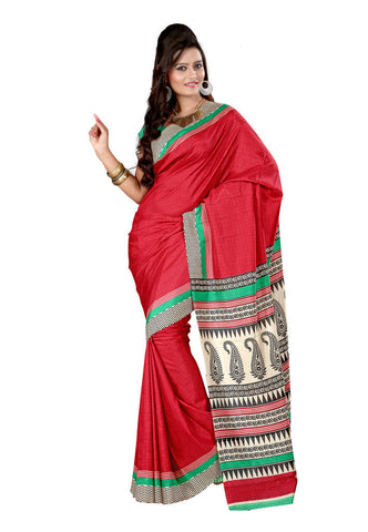 Red color crepe silk saree