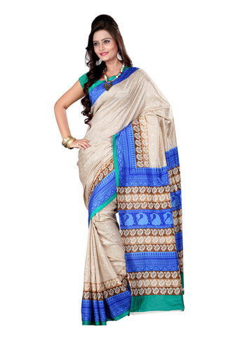Off White color crepe silk saree