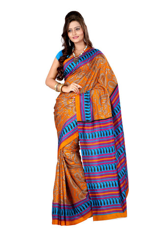 Orange color crepe silk saree