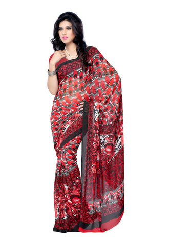 Red Weightless Georgette saree