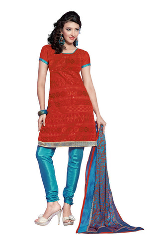 Red Chanderi Silk suits