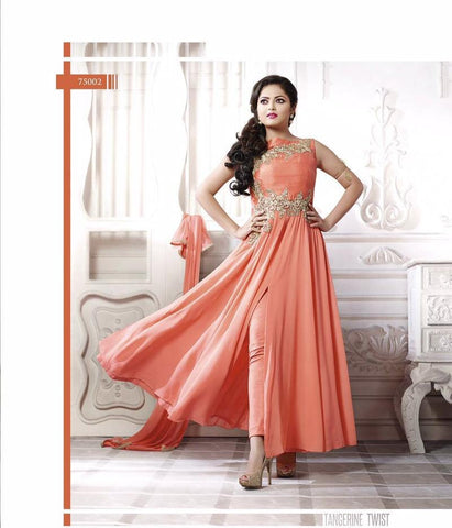 Designer suits of georgette in peach color