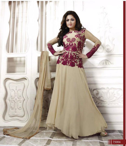 Designer suits of georgette in Beige and Purple color